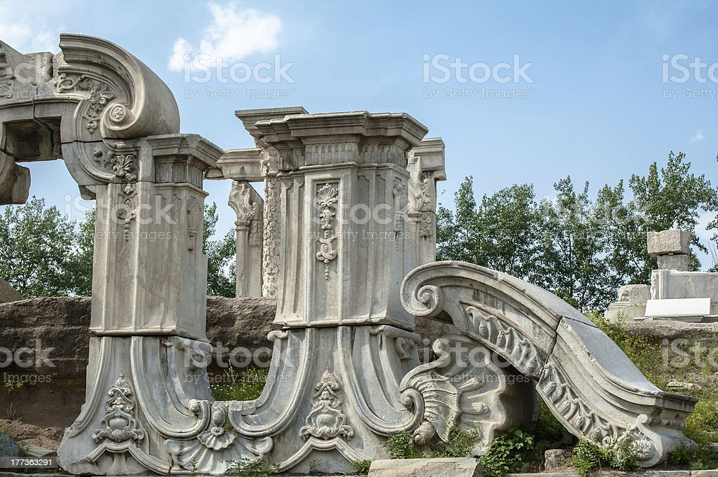 Ruins of Yuanmingyuan in Beijing stock photo