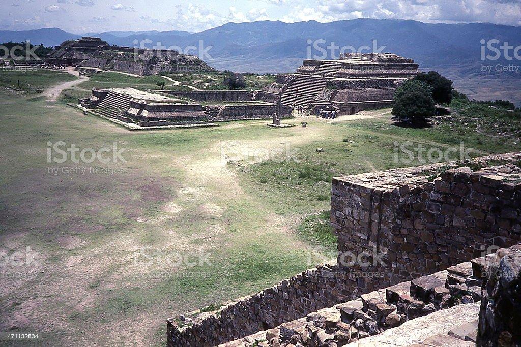 Ruins of Zapotec city Monte Alban Oaxaca Mexico wet season stock photo