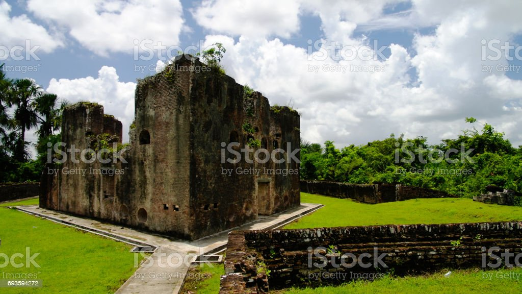 Ruins of Zeeland fort on the island in Essequibo delta, Guyana stock photo
