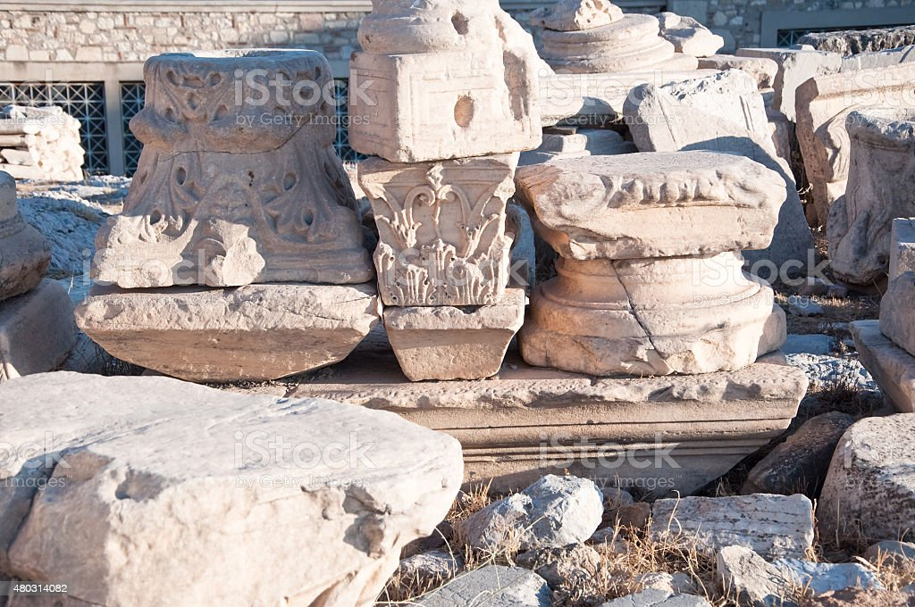 Ruins on the Acropolis of Athens. Greece. stock photo