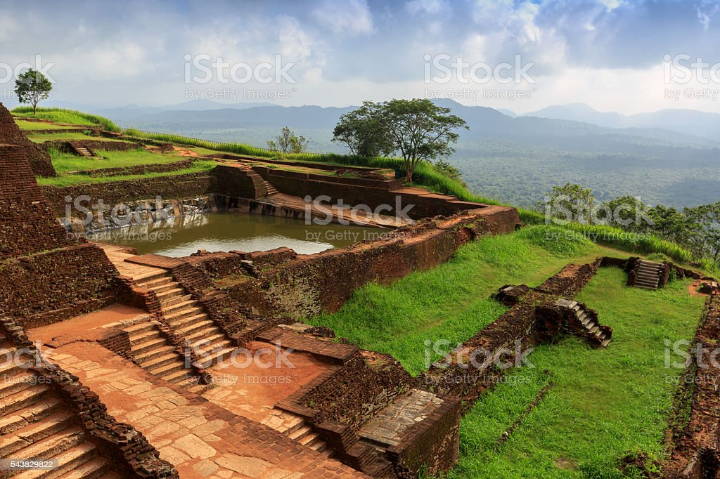 Ruins on top of Sigiriya palace stock photo