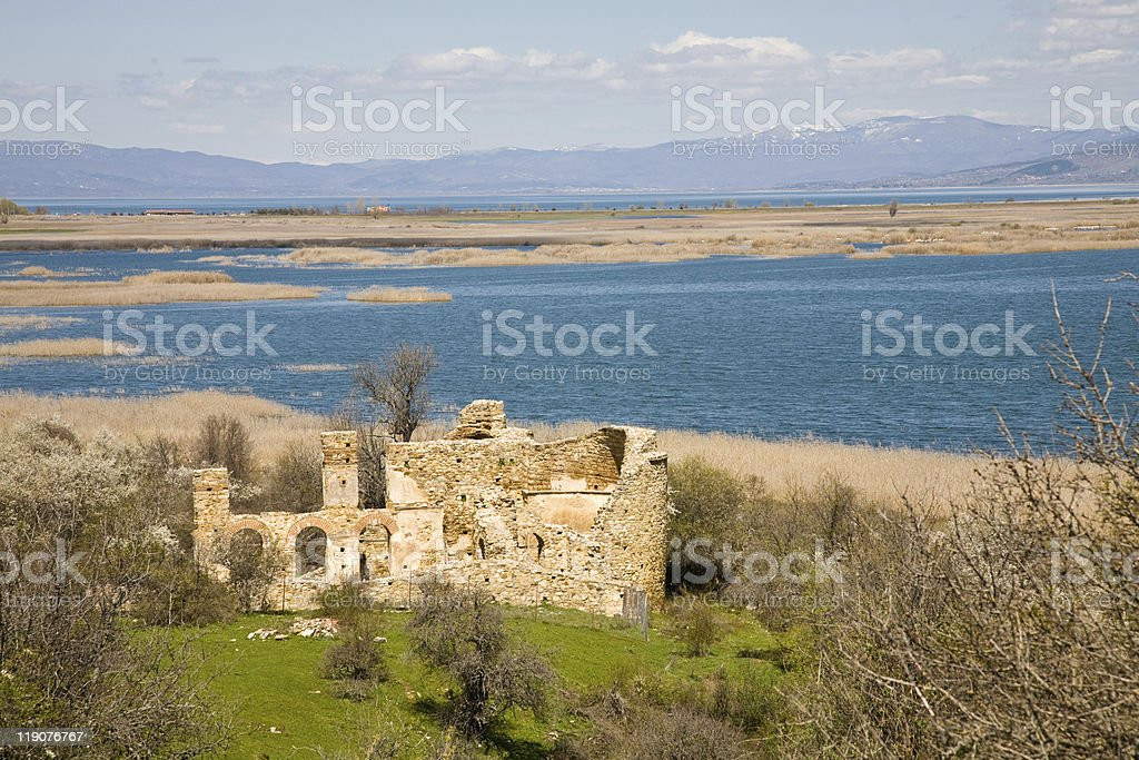 Ruins, Prespa Lake, Greece royalty-free stock photo