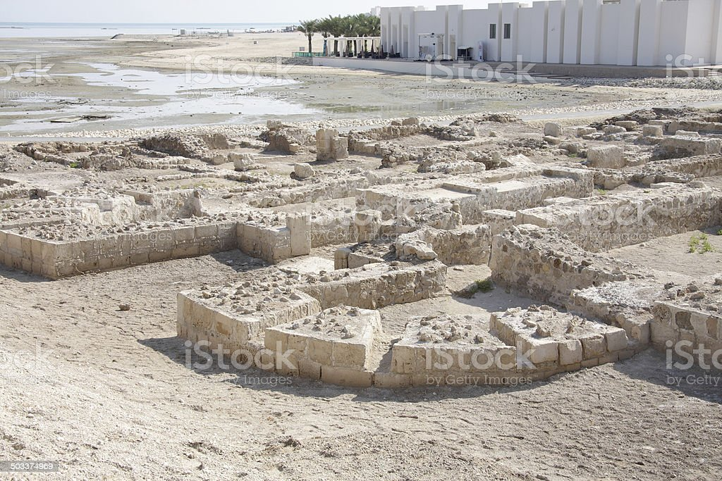 Ruins showing the distinct outer boundary, Bahrain fort royalty-free stock photo