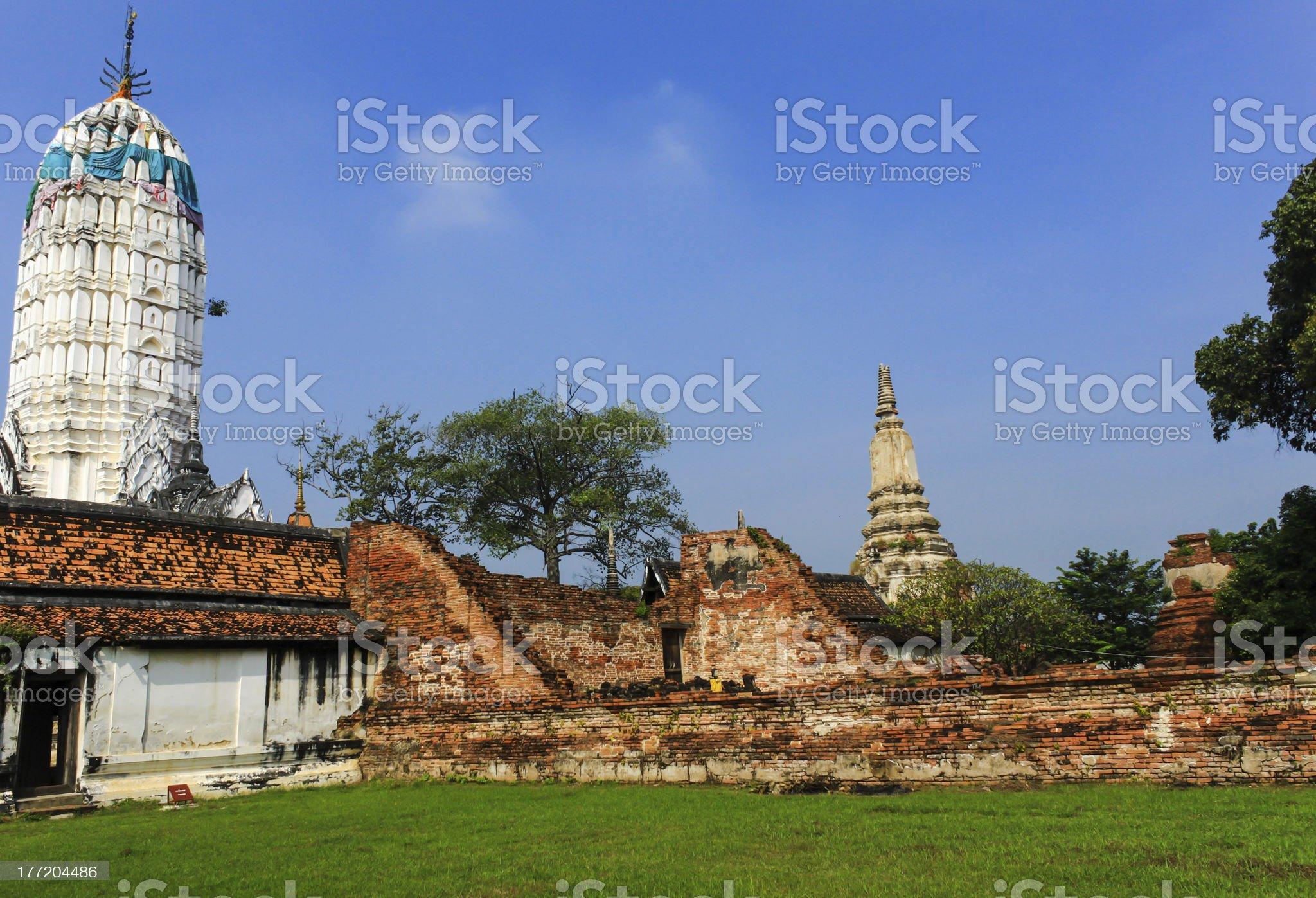 Ruins Temple at Ayutthaya, Thailand royalty-free stock photo