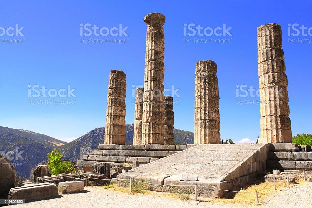 Ruins Temple of Apollo in Delphi, Greece stock photo