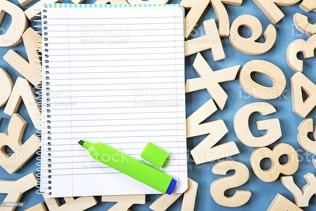 Ruled note pad with felt pen royalty-free stock photo