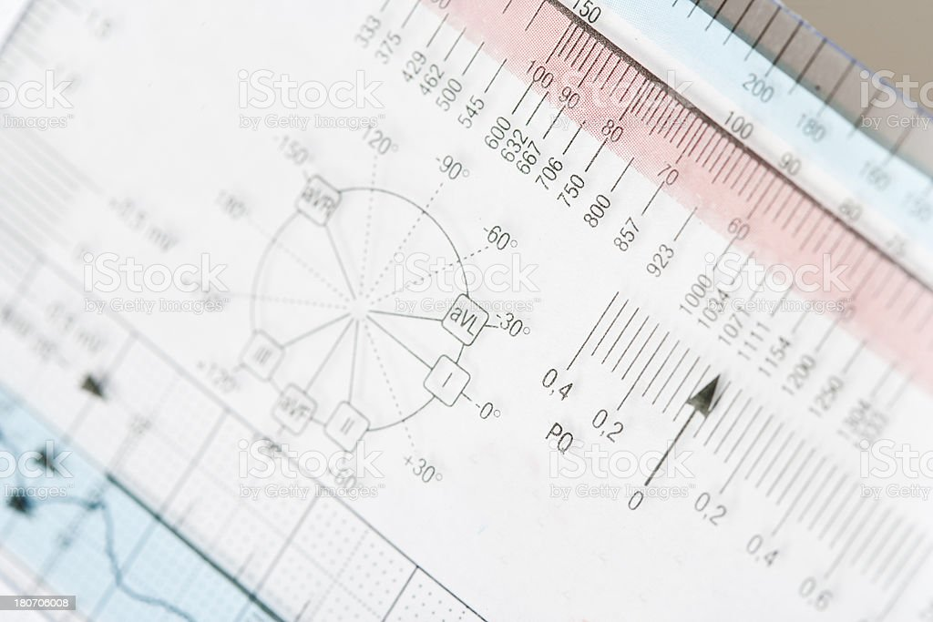 ECG ruler and circle of Cabrera royalty-free stock photo