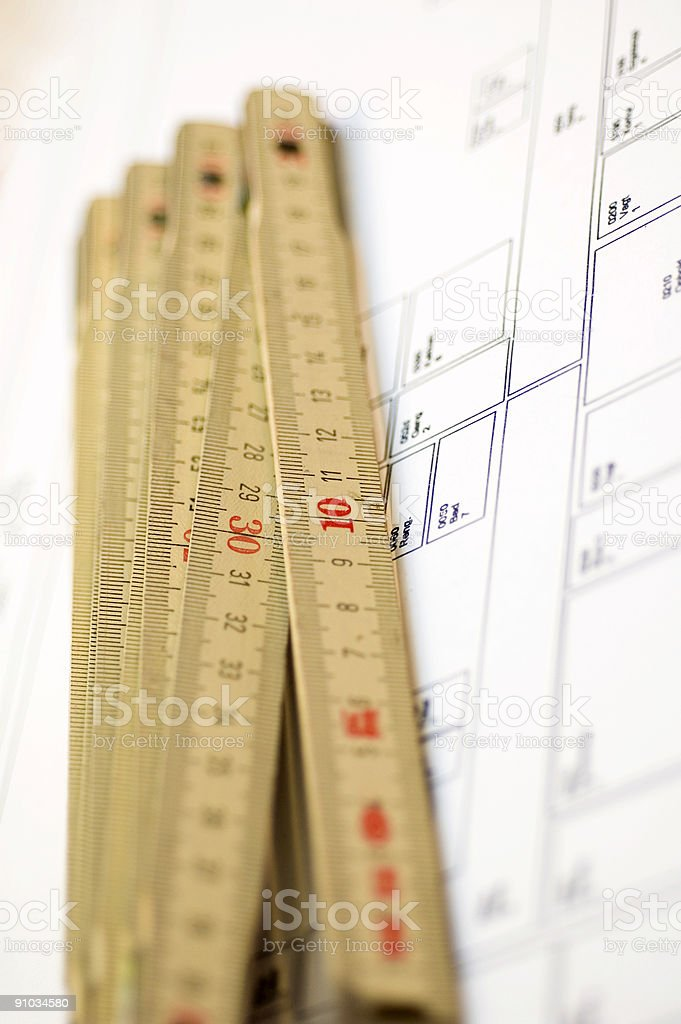 Ruler with plan stock photo