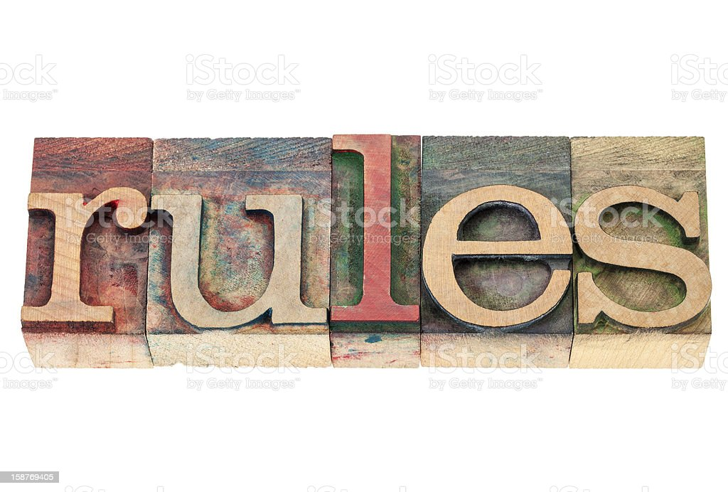 rules word in wood type royalty-free stock photo