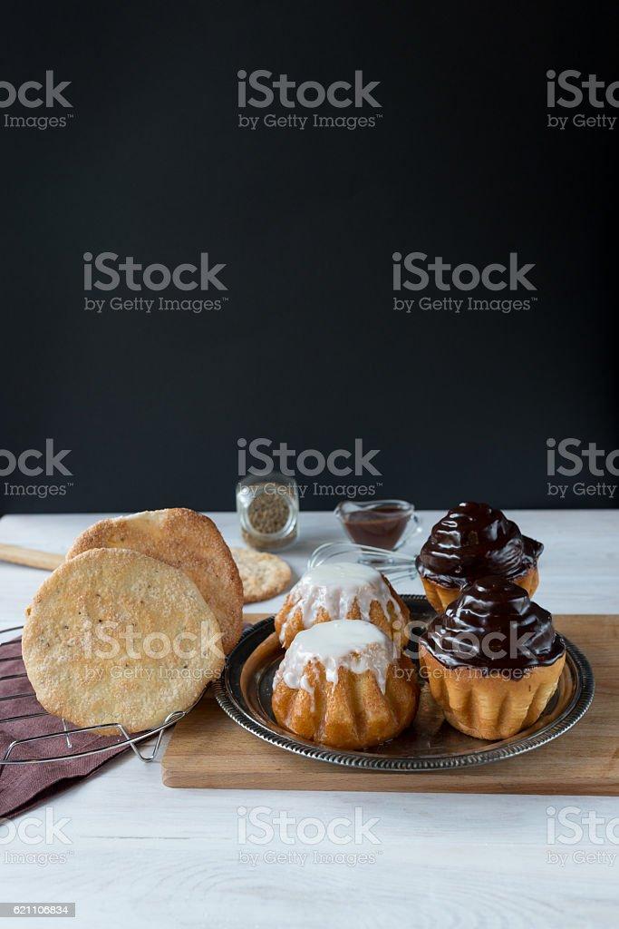 Rum babas (rum cakes) stock photo