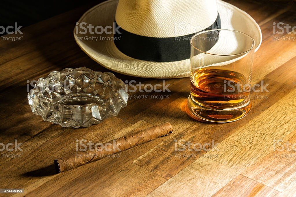 Rum, hat and cigar stock photo
