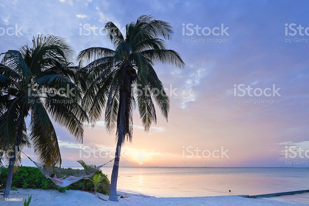 Rum point beach in grand Cayman at dawn stock photo