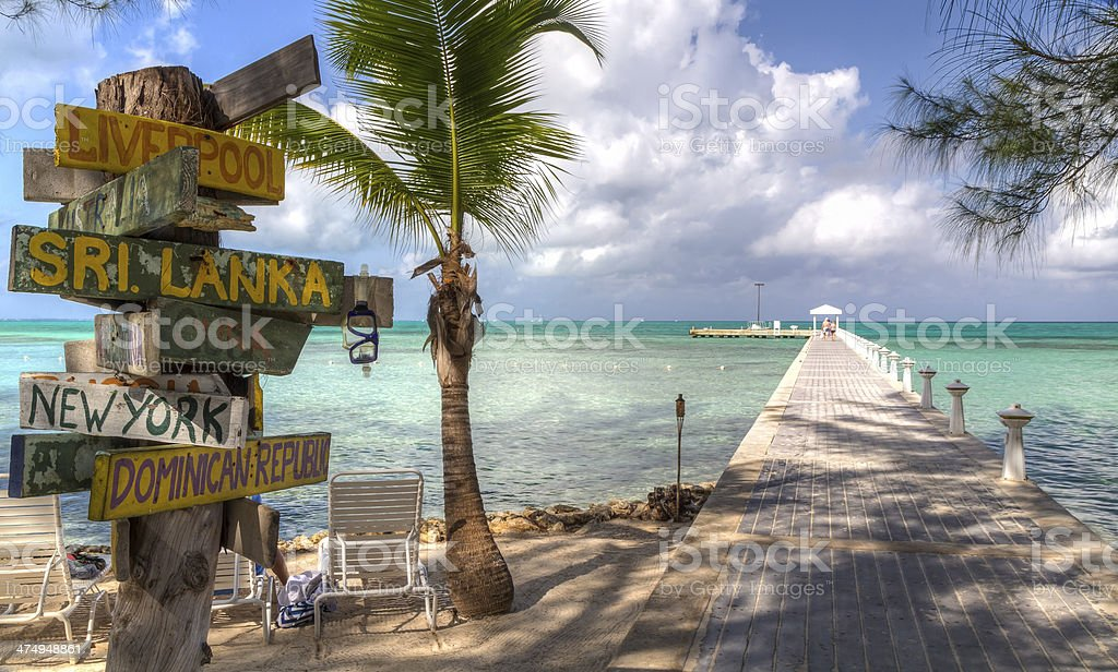 Rum Point Dock and Signpost stock photo