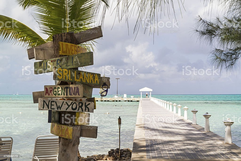 Rum Point Signpost stock photo