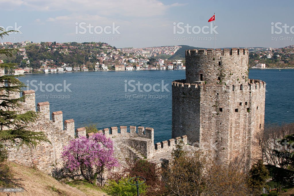 Rumelihisari with the Fatih Sultan Mehmet Bridge in  Istanbul, stock photo