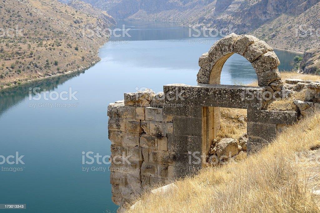Rumkale and Firat River, Halfeti, Gaziantep, Turkey royalty-free stock photo