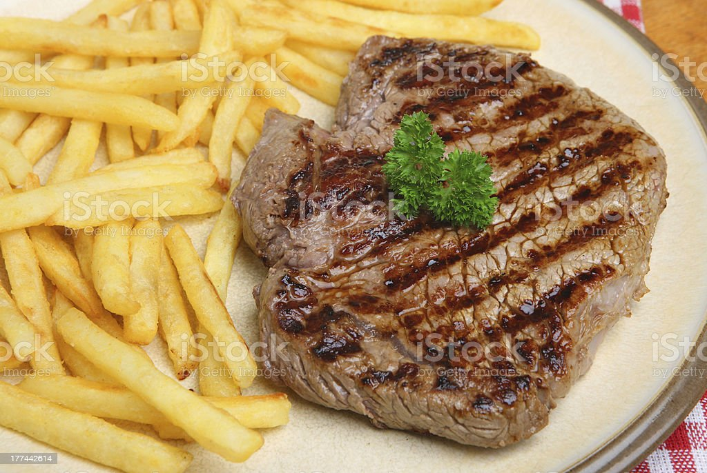 Rump Steak & Fries royalty-free stock photo