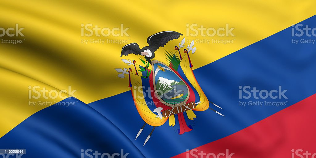 Rumpled flag and crest of Ecuador royalty-free stock photo
