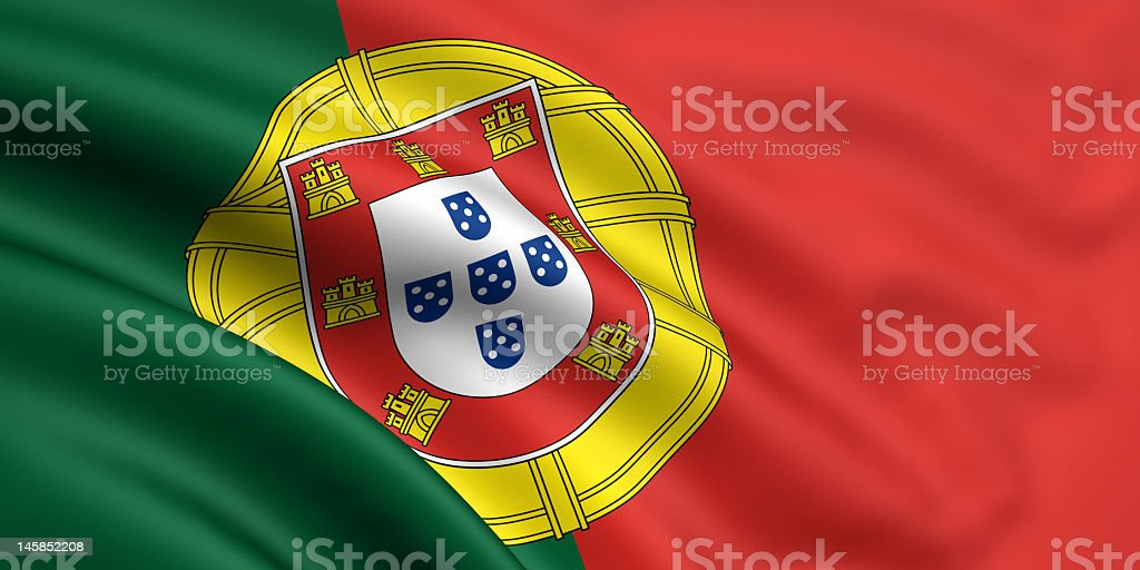 Rumpled flag and crest of Portugal royalty-free stock photo