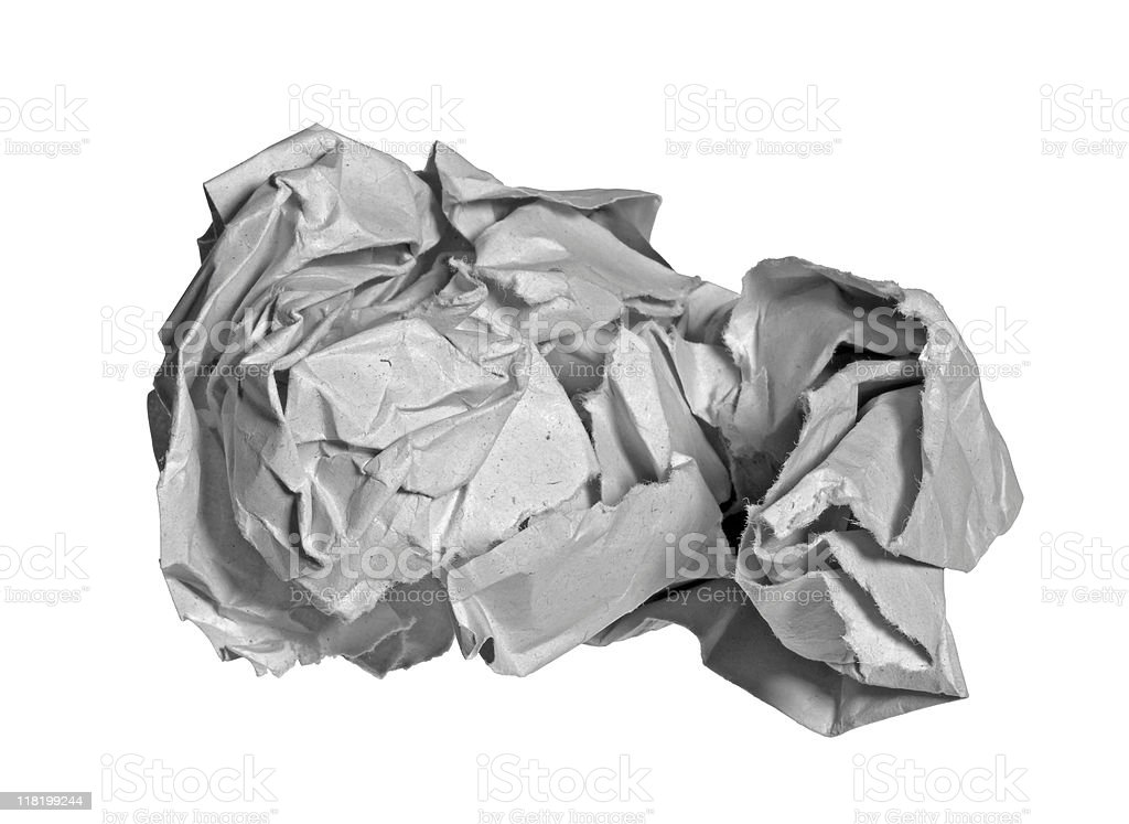 rumpled grey paper stock photo