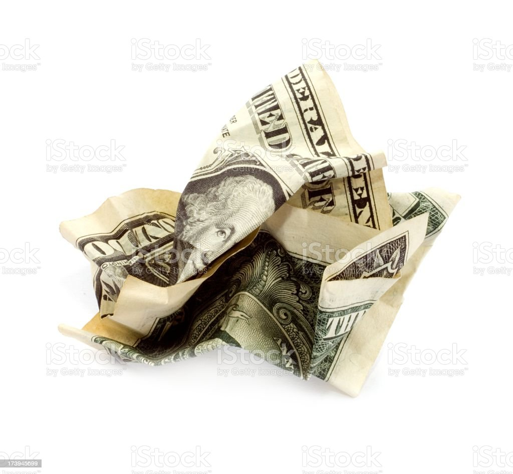 rumpled  one dollar note isolated stock photo
