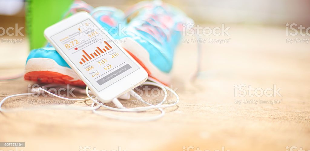 run analysis on fitness app stock photo