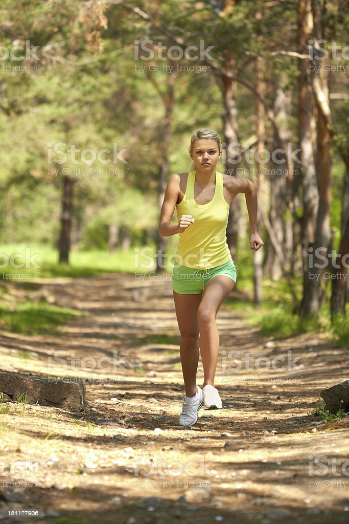 Run in woods royalty-free stock photo
