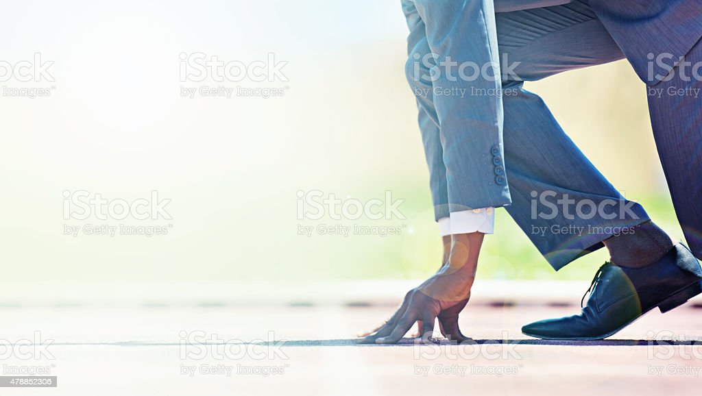 Run towards your business goals stock photo