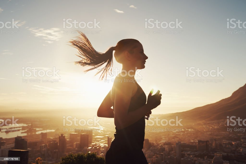 Run with the sun stock photo