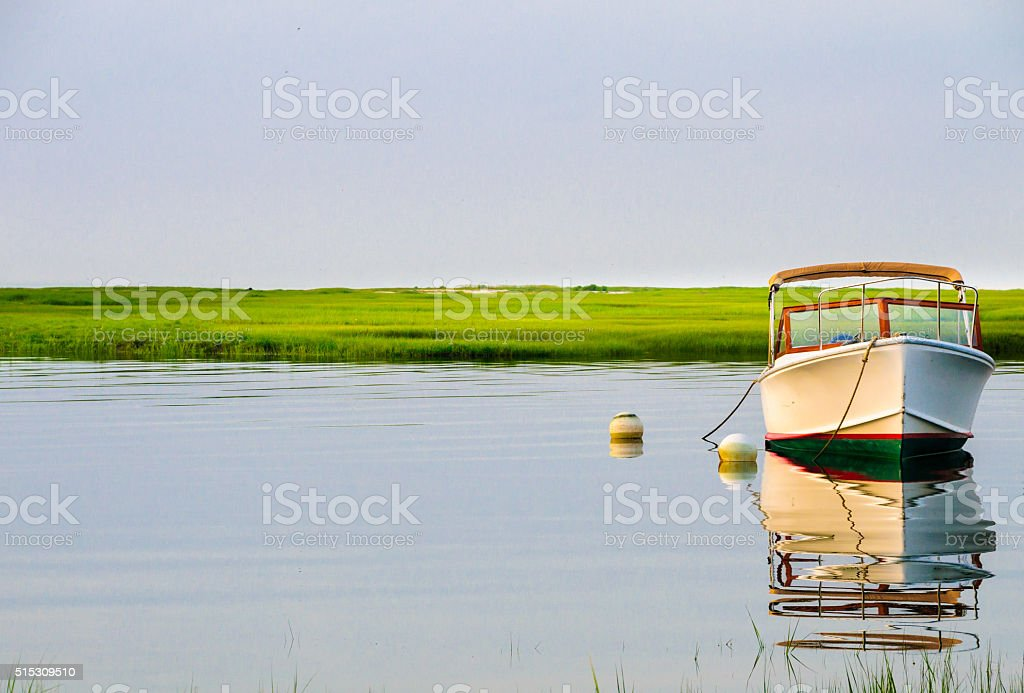 Runabout Reflections stock photo