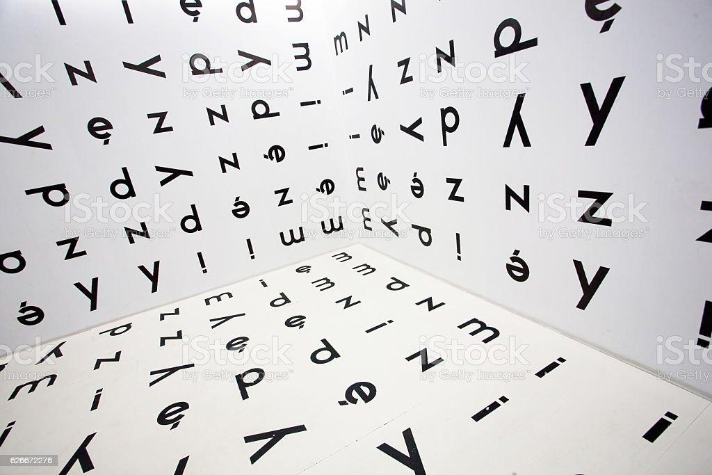 Runaround Polish letters of alphabet on the walls stock photo