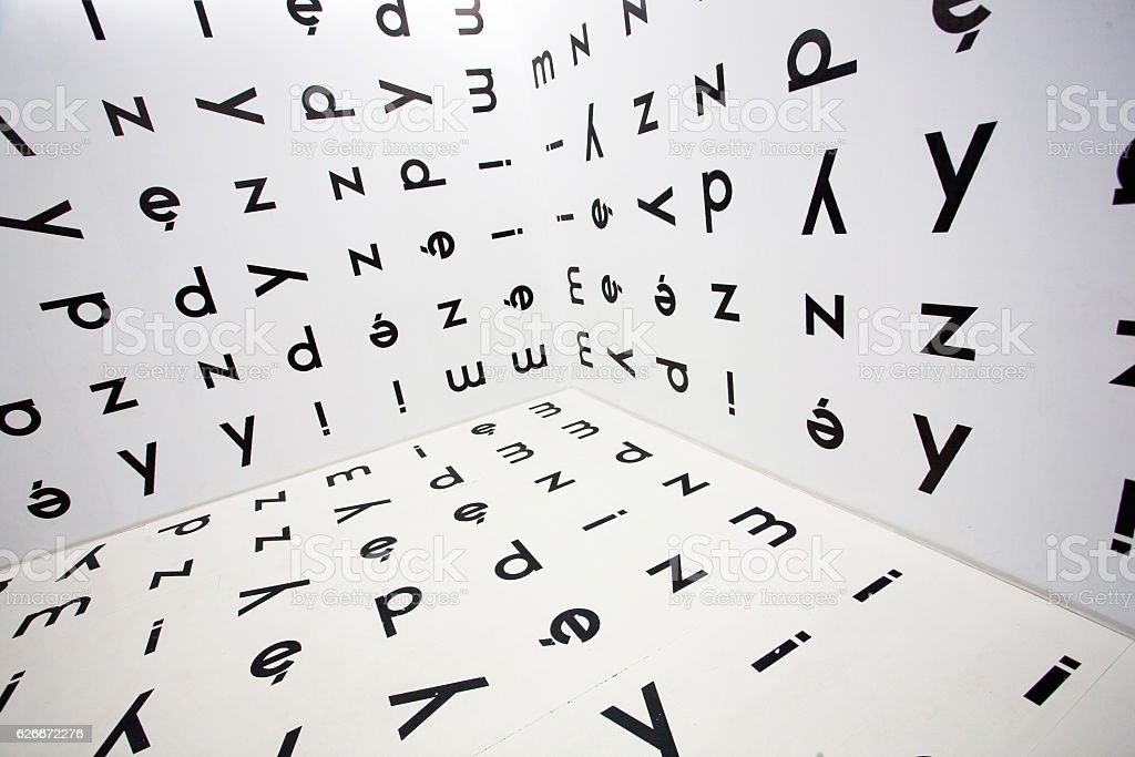 Runaround Polish letters of alphabet on the walls stock photo