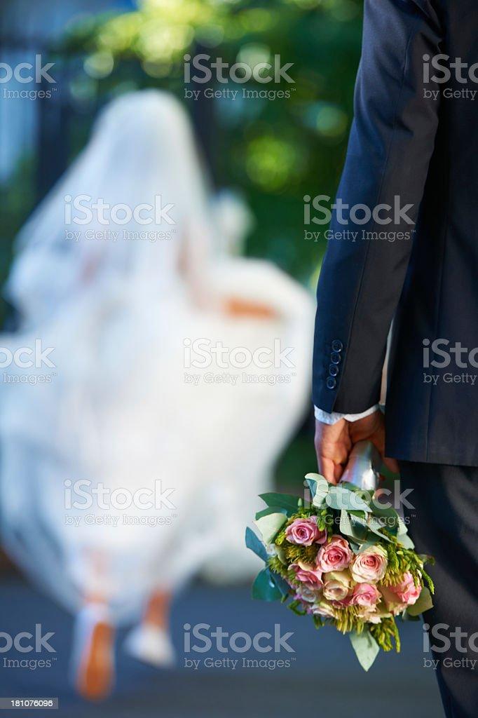 Runaway bride! stock photo