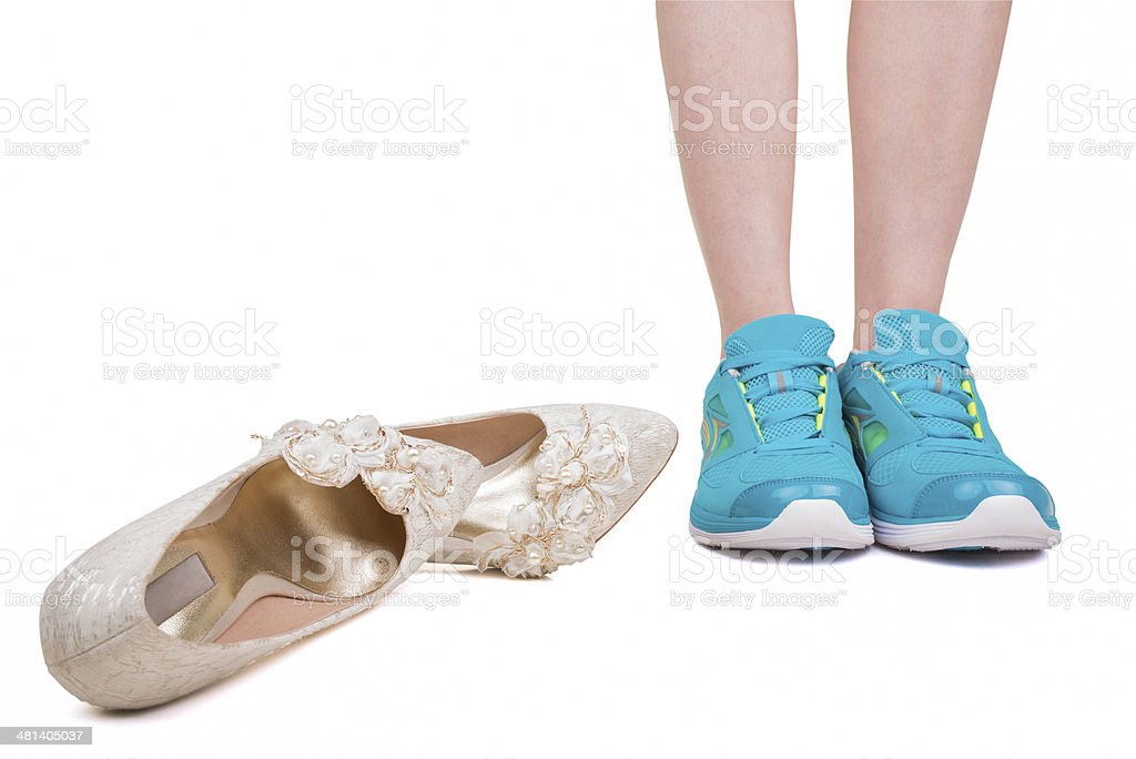 Runaway bride stock photo
