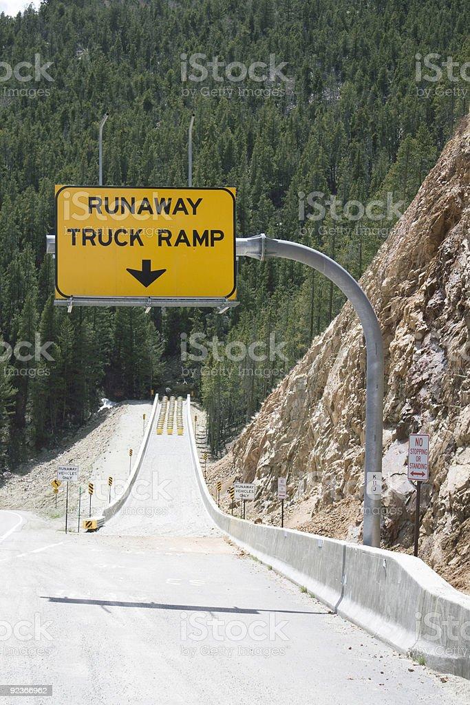 Runaway Truck Ramp sign stock photo