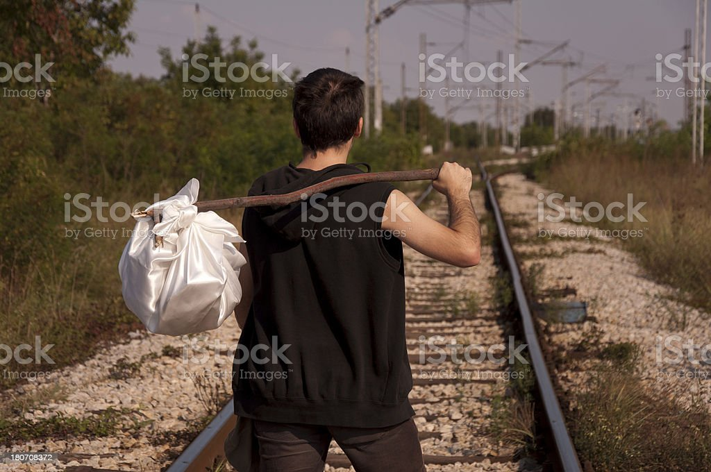 Runaway with kerchief on stick royalty-free stock photo