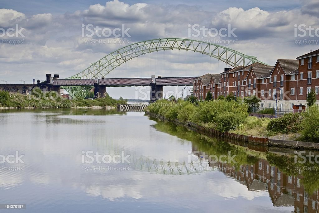 Runcorn Bridge from the Manchester Ship Canal stock photo