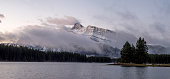 Rundle Mountain reflecting in Two Jack Lake