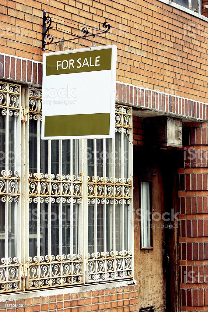 Run-Down Building For Sale royalty-free stock photo