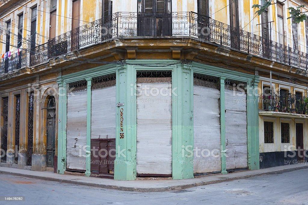 Run-down building, Havana, Cuba stock photo