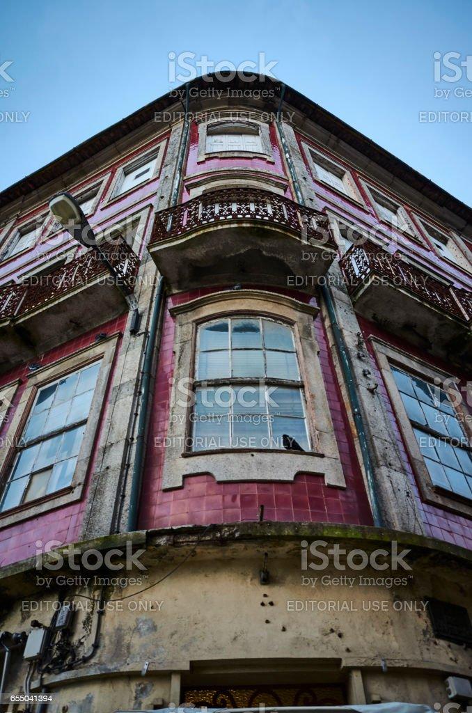 Run-down building in the centre of Braga stock photo
