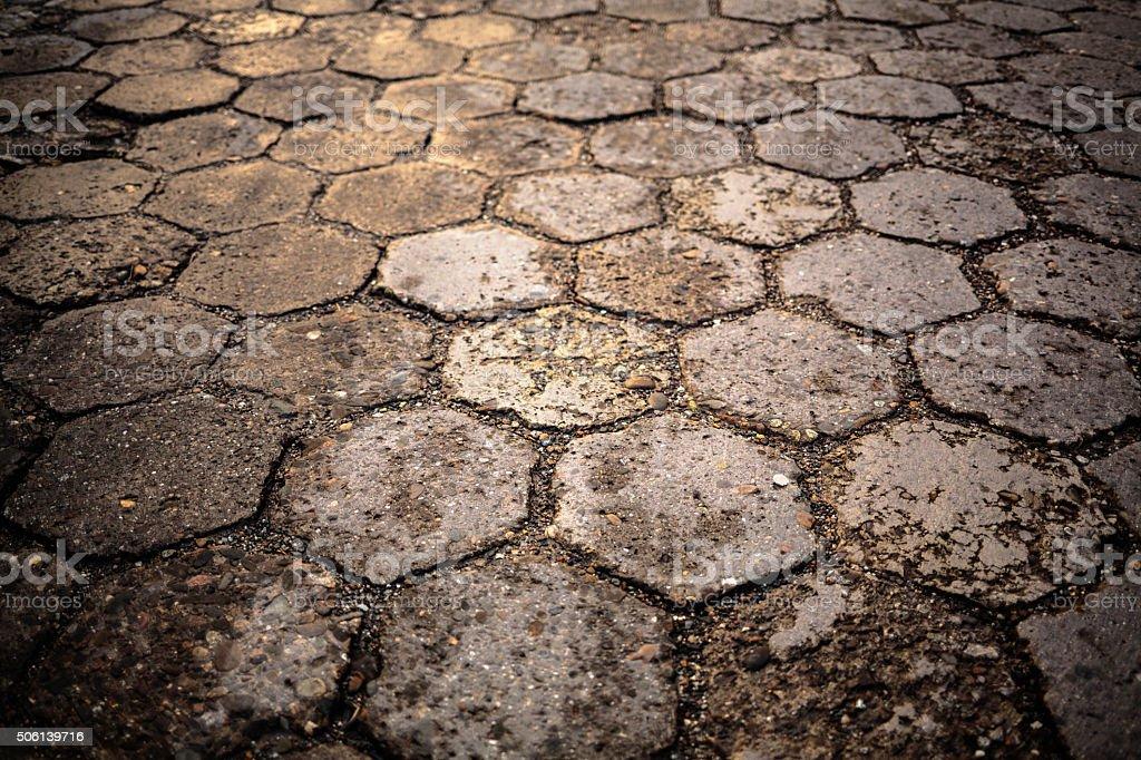 Run-down concrete tiles stock photo
