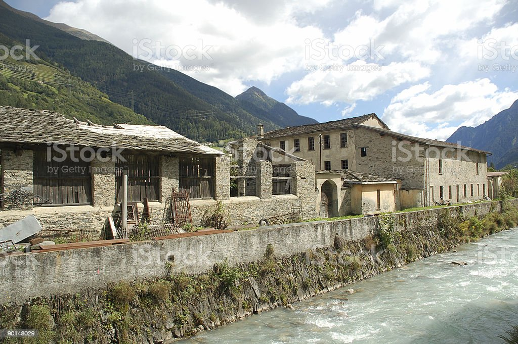 Run-down Factory in Poschiavo royalty-free stock photo