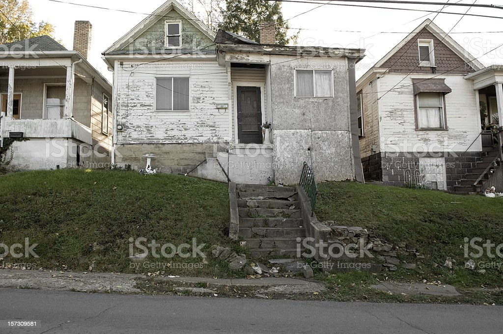run-down housing, Fairmont, West Virginia stock photo