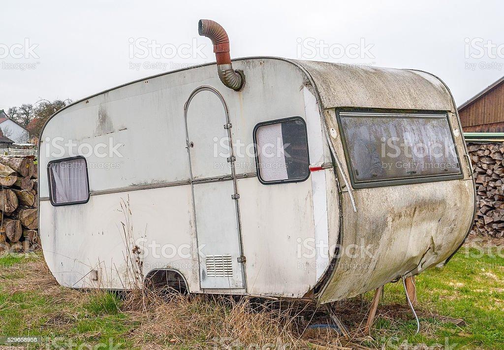rundown old caravan stock photo
