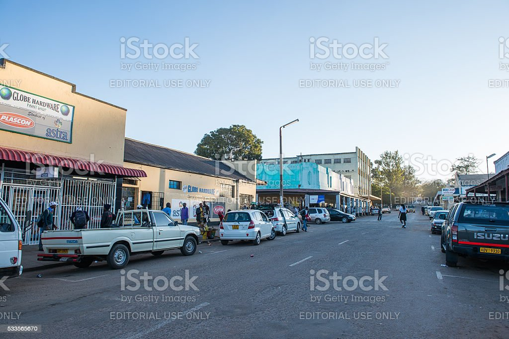 Run-down shops in downtown Kwekwe, Zimbabwe stock photo