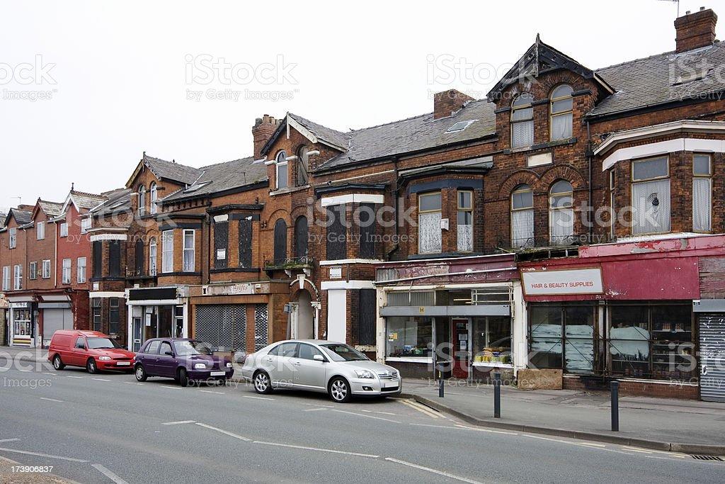 Run-down shops stock photo