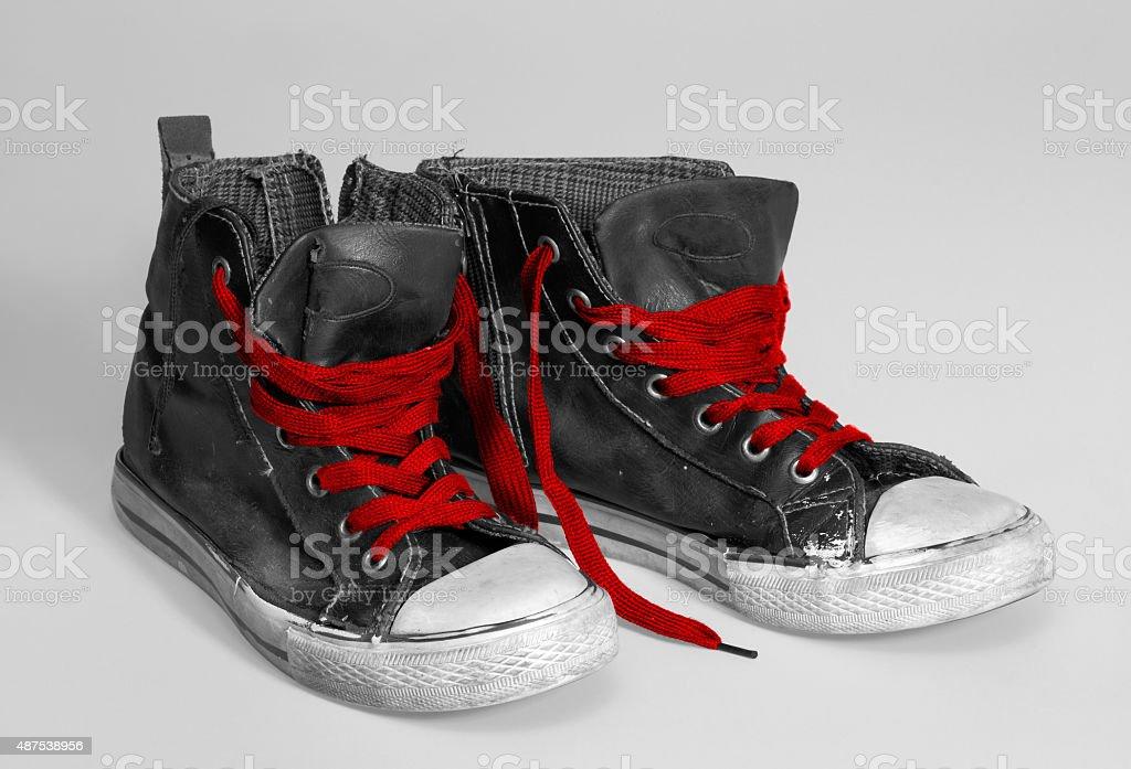 rundown sneakers stock photo