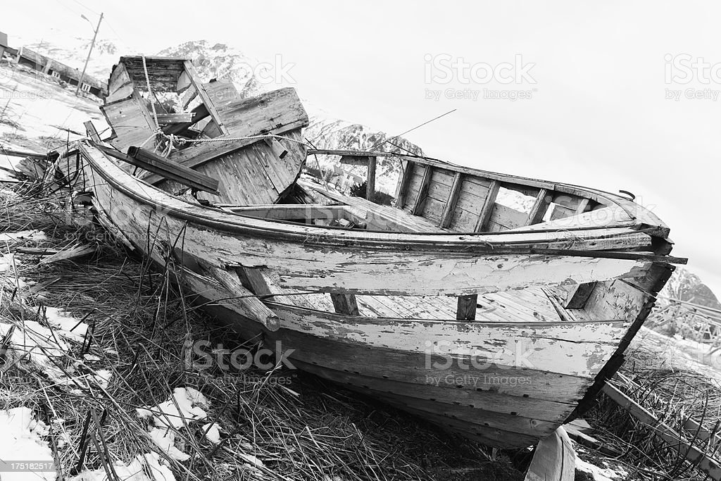 Run-down wooden boat on Lofoten Islands, Norway royalty-free stock photo