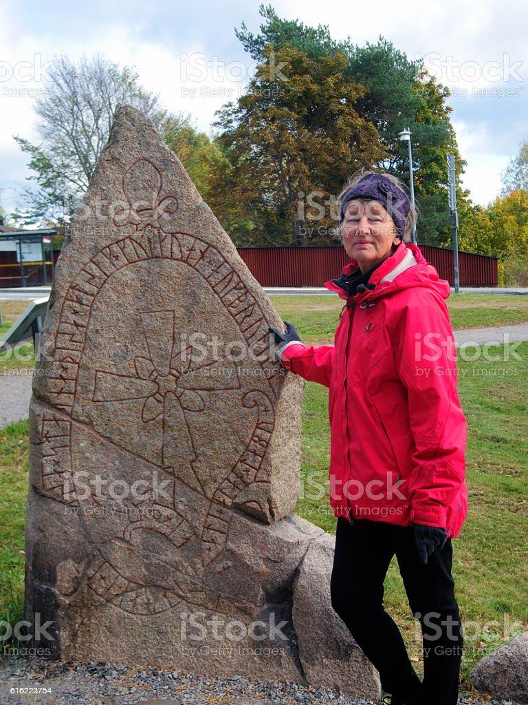 Rune stone in Sweden stock photo